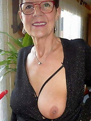 Grannies and matures sexily displaying just one bare breast