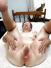 Big tittedandbushed granny flashing outdoors