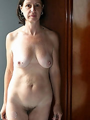 Elegant-looking grandmother with hairy cunt